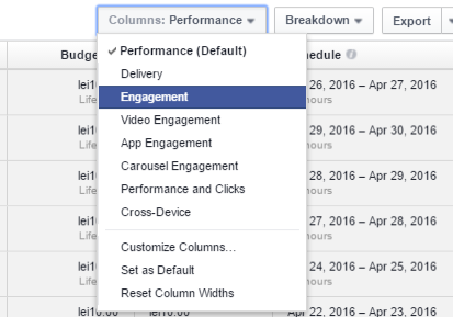 engagement reclama facebook